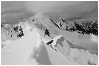 Snowy ridge above Shingo La, Zanskar, Jammu and Kashmir. India (black and white)
