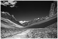 Zanskar River flanked by high cliff, Zanskar, Jammu and Kashmir. India (black and white)