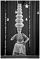 Rajasthani dancer balancing jars on head. New Delhi, India ( black and white)