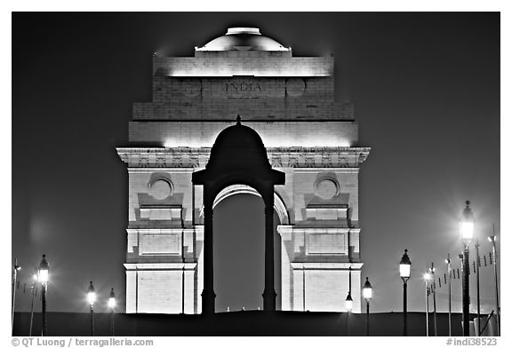 India Gate by night. New Delhi, India