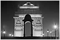 India Gate by night. New Delhi, India (black and white)