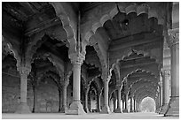 Arches in Diwan-i-Am, Red Fort. New Delhi, India ( black and white)