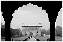Naubat Khana seen through arches of Diwan-i-Am, Red Fort. New Delhi, India (black and white)