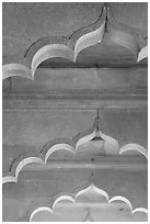 Arches and roof detail, Diwan-i-Am, Red Fort. New Delhi, India (black and white)