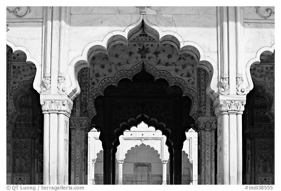 Arches, Diwan-i-Khas (Hall of private audiences), Red Fort. New Delhi, India (black and white)