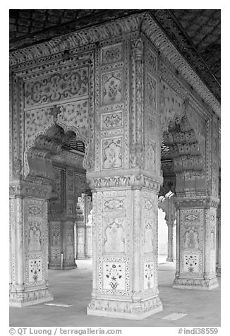 Decorated columns, Hammans, Red Fort. New Delhi, India (black and white)