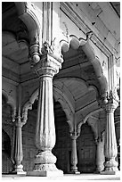 Thin columns, Khas Mahal, Red Fort. New Delhi, India (black and white)