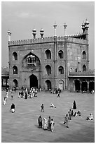 Courtyard and East gate of Jama Masjid mosque. New Delhi, India ( black and white)