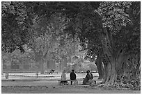 Gardens of Humayun's tomb. New Delhi, India (black and white)