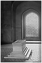Emperor's tomb, and screened marble window, Humayun's tomb. New Delhi, India ( black and white)