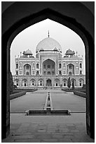 Cenotaph seen through entrance gate. New Delhi, India (black and white)