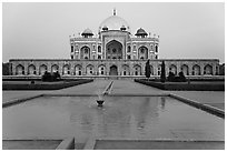 Basin, watercourses, and Humayun's tomb,. New Delhi, India (black and white)