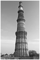 73-meter high tower of victory, Qutb Minar. New Delhi, India (black and white)