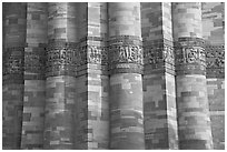 Detail of flutted sandstone, Qutb Minar. New Delhi, India (black and white)