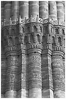Shafts separated by Muqarnas corbels, Qutb Minar. New Delhi, India (black and white)