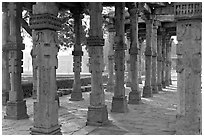 Colonade, Qutb complex. New Delhi, India ( black and white)