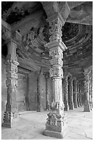 Colums around Quwwat-ul-Islam mosque, Qutb complex. New Delhi, India ( black and white)
