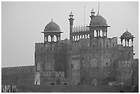 Lahore Gate at dawn. New Delhi, India (black and white)