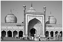 Jama Masjid, India's largest mosque, morning. New Delhi, India (black and white)