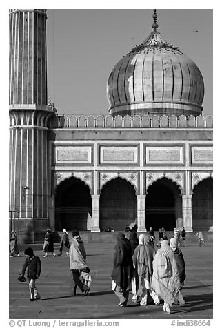 Group of people, courtyard, prayer hall, and dome, Jama Masjid. New Delhi, India