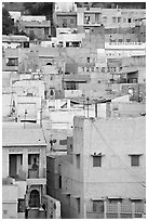 Old town houses with various shades of indigo. Jodhpur, Rajasthan, India (black and white)