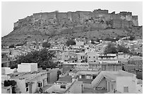 Rooftops and Mehrangarh Fort at dawn. Jodhpur, Rajasthan, India (black and white)