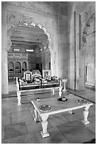 Memorial to Jaswant Singh, inside Jaswant Thada. Jodhpur, Rajasthan, India (black and white)