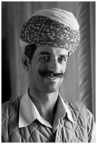 Man with turban, inside Jaswant Thada. Jodhpur, Rajasthan, India (black and white)