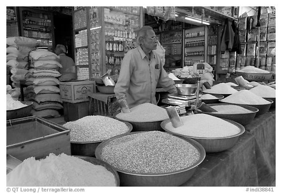 Man in front of grain and spice store, Sardar market. Jodhpur, Rajasthan, India