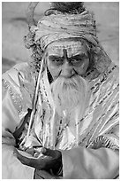 Sadhu. Varanasi, Uttar Pradesh, India ( black and white)