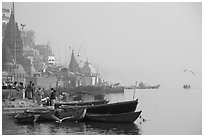 Temples and Ganga River, foggy sunrise. Varanasi, Uttar Pradesh, India (black and white)