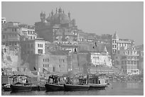 Alamgir Mosque above boats and the Ganges River. Varanasi, Uttar Pradesh, India ( black and white)
