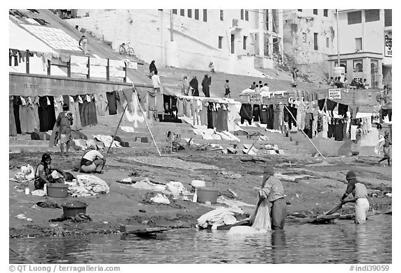 Laundry washed and hanged on Ganges riverbank. Varanasi, Uttar Pradesh, India (black and white)