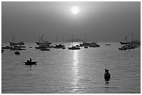 Mumbai harbor, sunrise. Mumbai, Maharashtra, India ( black and white)