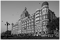 Taj Mahal Palace Hotel and pigeons. Mumbai, Maharashtra, India ( black and white)