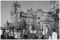 Crowd in front of Chhatrapati Shivaji Terminus. Mumbai, Maharashtra, India (black and white)