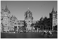 Chhatrapati Shivaji Terminus (Victoria train station), late afternoon. Mumbai, Maharashtra, India ( black and white)
