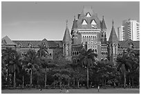 High Court, late afternoon. Mumbai, Maharashtra, India ( black and white)