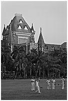 Cricket players and high court. Mumbai, Maharashtra, India ( black and white)