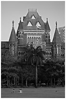 Oval Maiden and High Court. Mumbai, Maharashtra, India ( black and white)