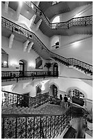 Staircase inside Taj Mahal Palace Hotel. Mumbai, Maharashtra, India ( black and white)