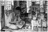 Street vendor. Mumbai, Maharashtra, India (black and white)
