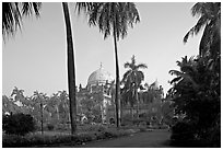 Gardens of Prince of Wales Museum. Mumbai, Maharashtra, India (black and white)