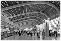 Domestic terminal, Mumbai Airport. Mumbai, Maharashtra, India (black and white)