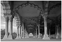 Diwan-i-Am (hall of public audiences),  Agra Fort. Agra, Uttar Pradesh, India ( black and white)