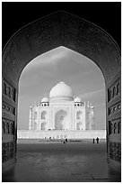 Taj Mahal seen through arch of Jawab, morning. Agra, Uttar Pradesh, India (black and white)