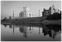 Jawab, Taj Mahal, and Taj Mahal mosque. Agra, Uttar Pradesh, India (black and white)