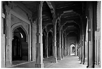Arches and prayer hall, Dargah mosque. Fatehpur Sikri, Uttar Pradesh, India (black and white)