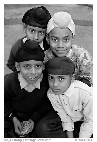 Sikh boys. Bharatpur, Rajasthan, India (black and white)