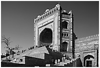 54m-high gate built to commemorate Akbar's victory in Gujarat, Dargah mosque. Fatehpur Sikri, Uttar Pradesh, India ( black and white)